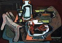 Zátiší s dvěma raky, pohárem, utěrkou a karafou, 1923
