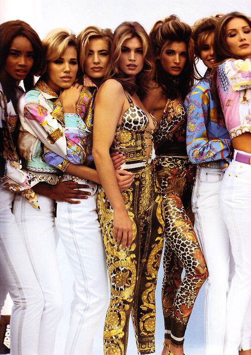 Beverly Peele, Emma Sjoberg, Elaine Irwin-Mellencamp, Cindy Crawford, Niki Taylor, Stephanie Seymour & Carla Bruni Versace, early 90s