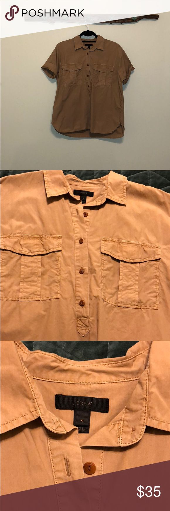 J. Crew Camel Colored Safari Shirt Flowy half button down safari shirt. Looks really cute with skinny jeans and flats in the summer or boots during cooler months. Love this shirt however it does have a wide fit. Worn a handful of times. J. Crew Tops Button Down Shirts