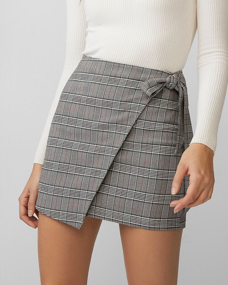 Express: Plaid Wrap Tie Mini Skirt