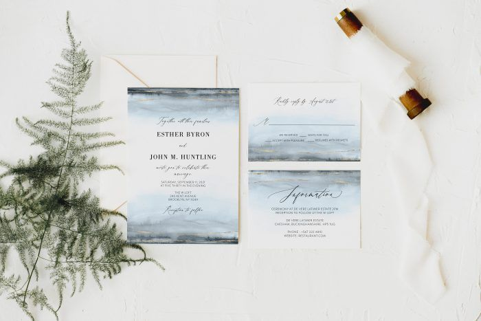 Steal Blue Grey Watercolor Wedding Invitation Set Template Etsy