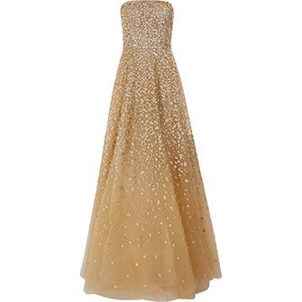 Gold Tone Embellished Silk Gown .19999!..