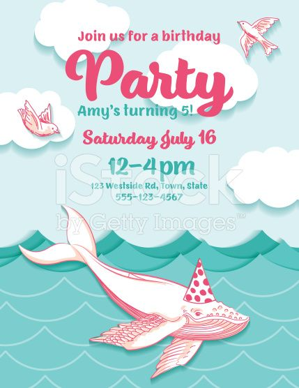 Cute Cartoon Flying Whale Birthday Hat Party Invitation royalty-free stock vector art