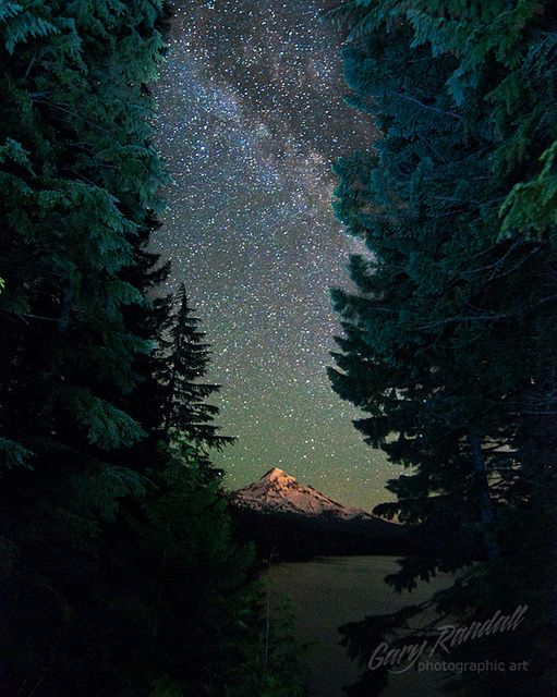 The Milky Way over Mount Hood at Lost Lake, Oregon