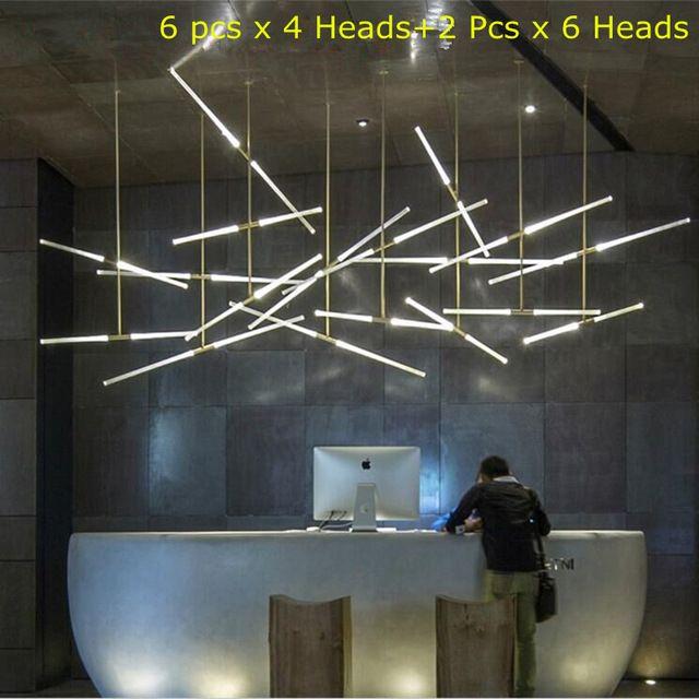 Современные Crystal LED Панели Филиал Люстра Офисное Освещение Ресторан Бар Лампа Nordic Творческие Декоративно-прикладного искусства Подвесной Светильник