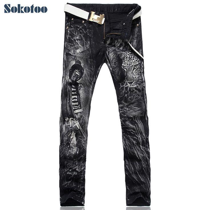 Sokotoo erkek moda leopar baskı kot Erkek slim fit düz siyah kot pantolon Ücretsiz kargo(China (Mainland))