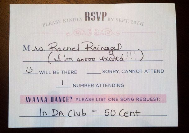 Add a line for a DJ song request on your Wedding RSVP cards. | 31 Impossibly Fun Wedding Ideas