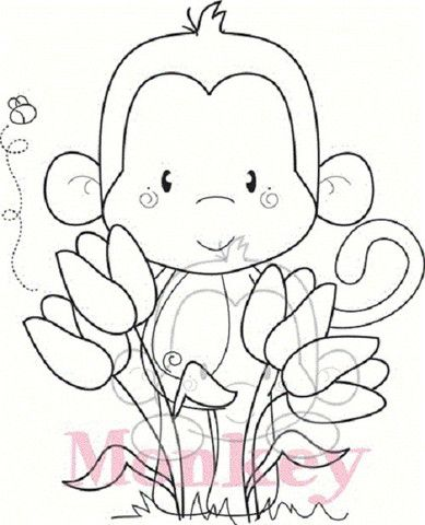 "C.C. Designs Animal Crackers ""Tulip Monkey"" Rubber Stamp – Quick Creations"