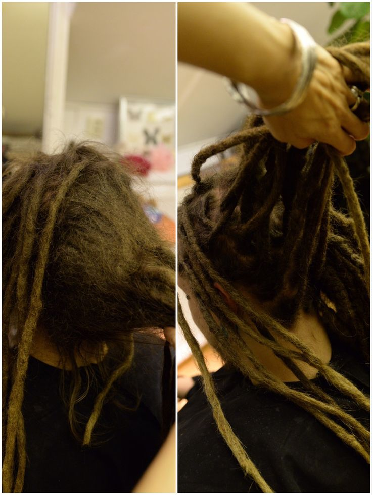 This is a huge transformation that I did. His dreadlocks had grown together like crazy and it was a big challenge for me. Here is a before and after photo when I did dreadlock surgery!