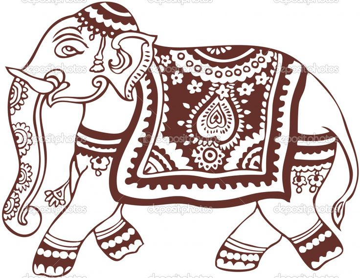 Indian Elephant Design Coloring Pages   Indian elephant design