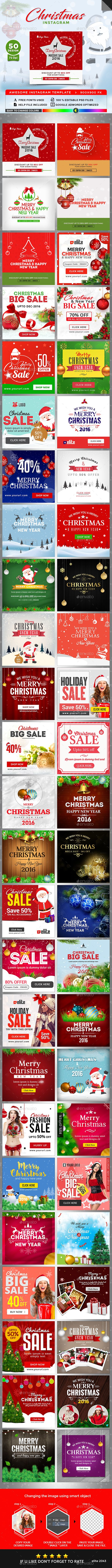 Christmas Instagram Banners Templates - 50 Designs