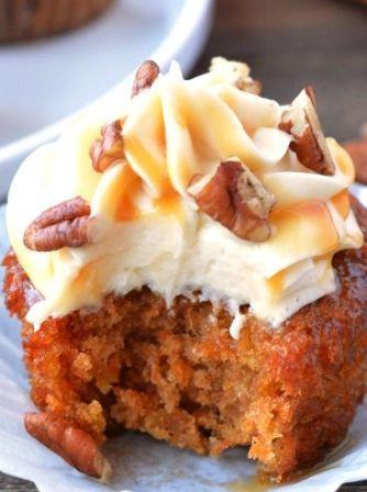 Caramel Pecan Carrot Cupcakes | TasteFoodHome