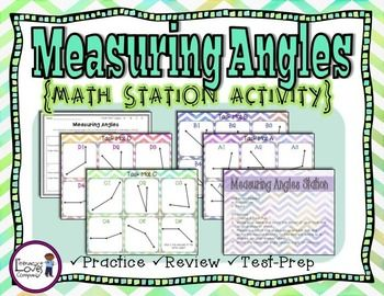 Measuring Angles Math Station Easy prep! All you need to add are protractors!  Use this station as a follow-up to your lessons on measuring angles, review of angles, or test prep!  $