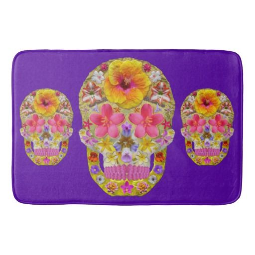 Flower Skull 4 - Tropical Bath Mat