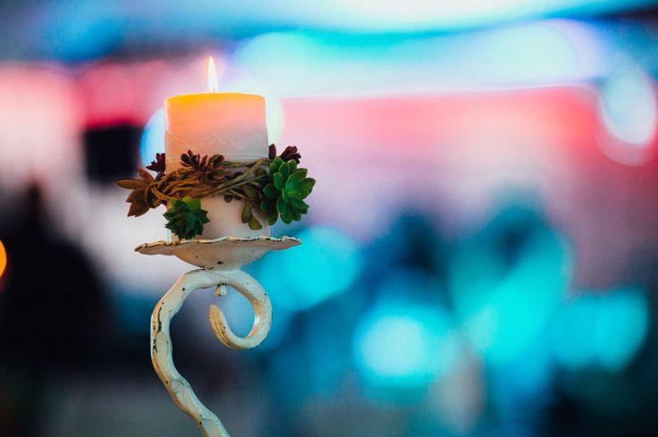 Succulent centerpiece, IKEA candle with burlap rope and sempervivum
