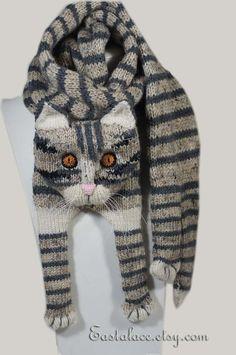Tabby Gray Cat Scarf Knitting Scarf Gray Scarf Cowl Scarf Long Scarf knit, winter scarf, Christmas G