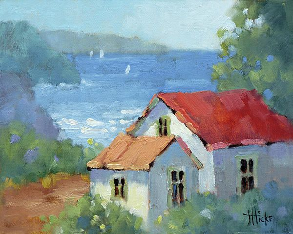 Pacific View Cottage Painting by Joyce Hicks - Pacific View Cottage Fine Art Prints and Posters for Sale