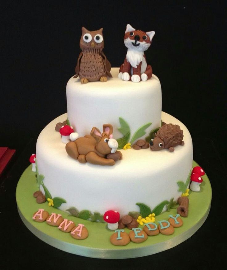 Woodland scene was the theme for this joint Christening Cake