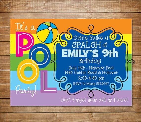 Pool Birthday Party Invitation Girls Swimming Water Indoor