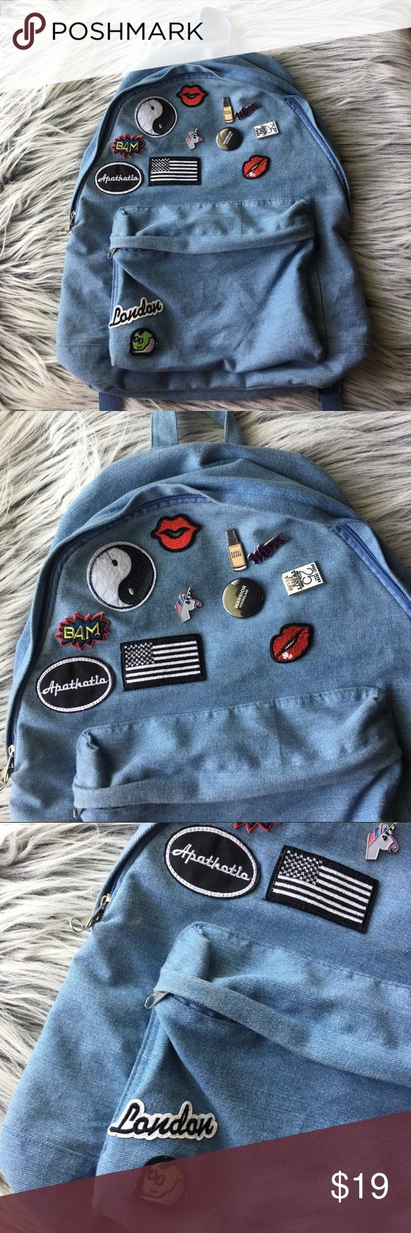 """🤖Unisex🤖Jean backpack🤖With patches🤖 🤖EUC🤖Includes all patches🤖Mostly all signify happiness and travel🤖Will ship asap🤖No exchange or returns🤖All sales are final🤖UNISEX🤖All offers are welcomed🤖Top•Bottom is 19""""🤖Side•Side 14""""🤖 Topman Bags Backpacks"""