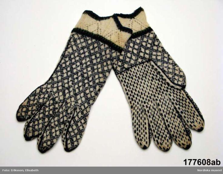 Mustjala sõrmikud. ERMist Nordiska museeti 1929. DigitaltMuseum - Fingervante