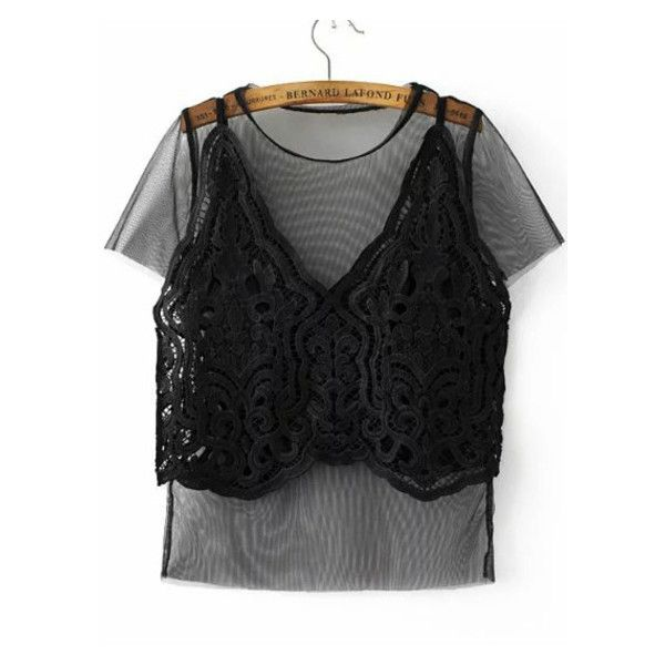 Black Mesh Tee With Lace Crochet Cami Top (€19) ❤ liked on Polyvore featuring tops, crochet lace top, camisole tops, lace mesh top, lace tee and crochet tee