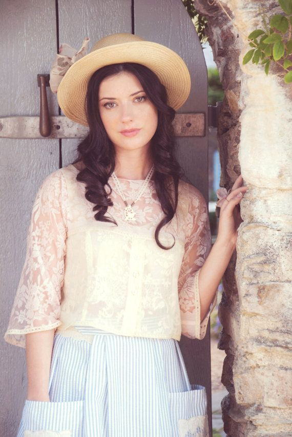 Primrose yellow and pale pink floral chiffon crop top blouse by AliceHalliday
