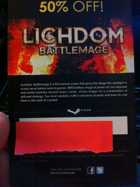 Lichdom Battlemage 50% off code from Steam