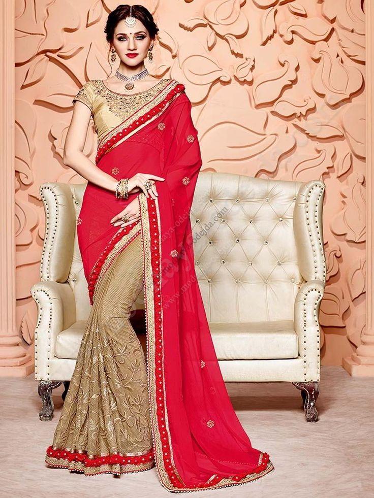 Двухцветное красивое индийское сари, украшенное вышивкой люрексом