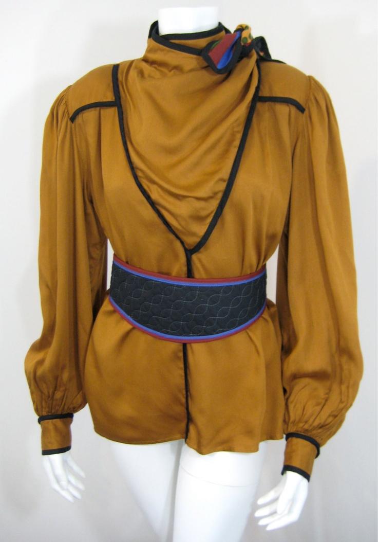 Vintage 1980s Jeanne Marc Bohemian Blouse & Matching Belt XS / M. $58.00, via Etsy.