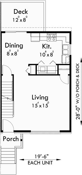 Main Floor Plan For D 520 Duplex Plans With Basement, 3 Bedroom Duplex House