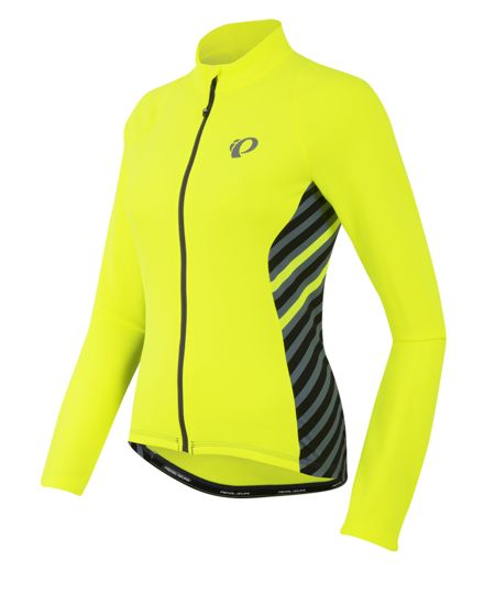 Pearl Izumi Select Thermal Jersey: Yellow high visibility fleece cycling jersey that can be used as a jacket or added layer when biking in cold weather to stay warm.