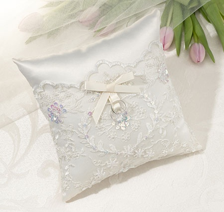 Ivory Sequin Lace Ring Bearer Pillow