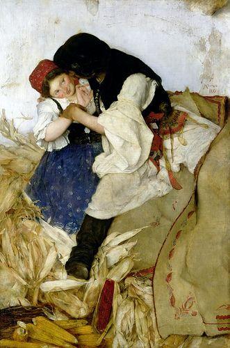 Husking Corn, 1885, by Simon Hollosy