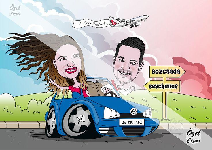 #ozelcizim #resim #karikatur #sanat #illustrasyon #ask #yildonumu #evlilik #gelin #damat #araba #otomobil #seyahat #bozcaada