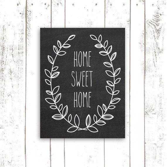Home Sweet Home Chalkboard Art Print by MooseberryPrintShop, $18.00