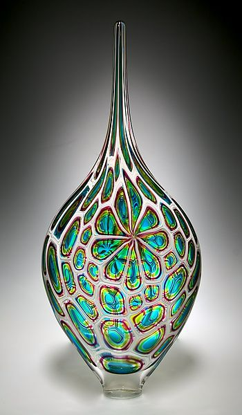**Lime/Aqua/Hyacinth Resistenza: David Patchen: Art Glass Vessel - Artful Home