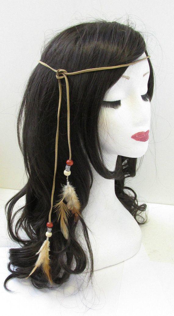 Ureinwohner Indianer Feder Kopfschmuck Stirnband braun Boho Krieg Bonnet V50