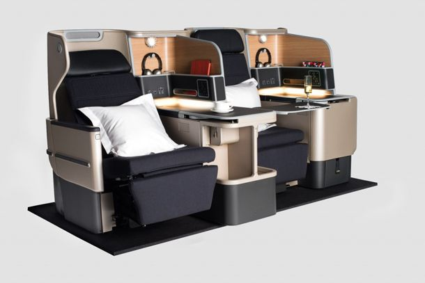 After the award success of Newson's Qantas business class 'Skybed', he was chosen to design the entire cabin interior of their A380 fleet. Stylish use of finishes and textures makes it look very sophisticated and  elegant.
