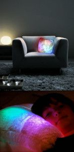 Light Up Pillow It is a fun pillow that acts like a nightlight that has a timer. It looks so cool in a dark room. I just love the soft colors of the pillow. It's made out of ultra soft plush synthetic fur and has 24 integrated LED lights that change the color.  http://awsomegadgetsandtoysforgirlsandboys.com/awesome-gadgets-for-your-room/ Awesome Gadgets For Your Room: Light Up Pillow