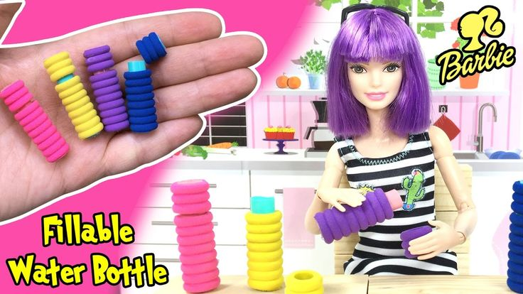DIY Miniature Working Water Bottle For Barbie Dolls - Easy Doll Crafts -...