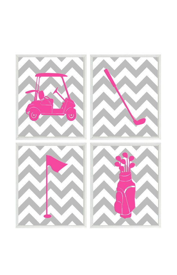 Golf Wall Art Girl Golf Room Chevron Print Baby by RizzleandRugee