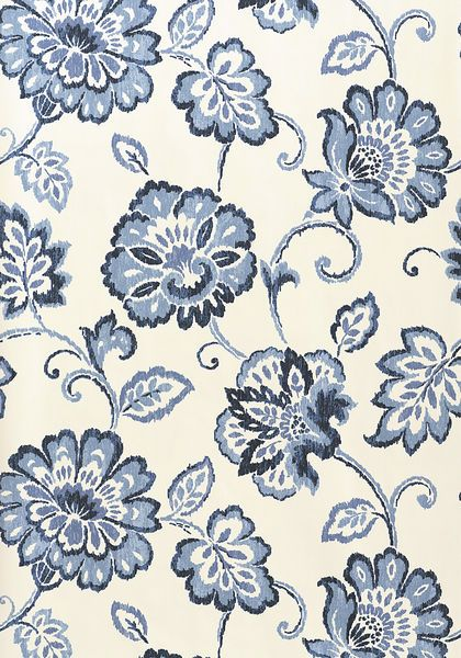 Alexa #wallpaper and matching #fabric in #navy and #white from the Jubilee collection. #Thibaut
