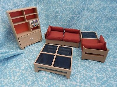 Tomy Dollhouse Furniture Living 3 Sectional, Sofa W/ Coffee & End Tables & Hutch
