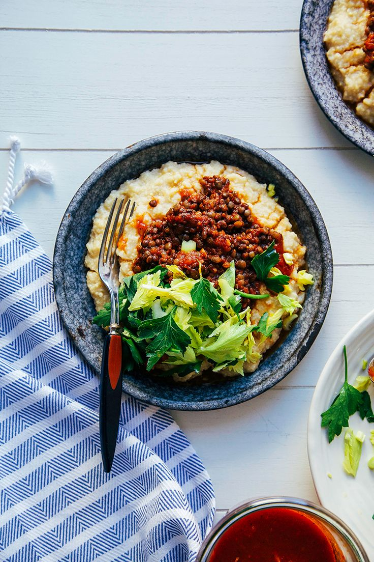 A cozy and quick bowl of vegan BBQ lentils with millet polenta.