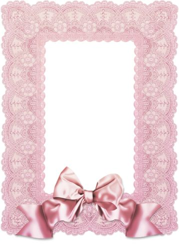 Frame with pink lace and silk ribbon