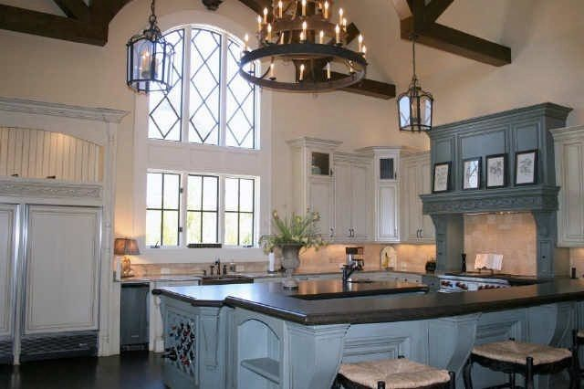 White paint glazed to antique with wooden beam and dark for Kitchen cabinet english style