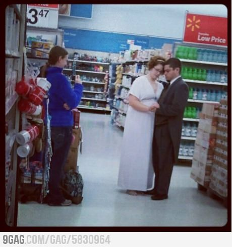 Where did you take your wedding photos? Walmart. Not in this lifetime.
