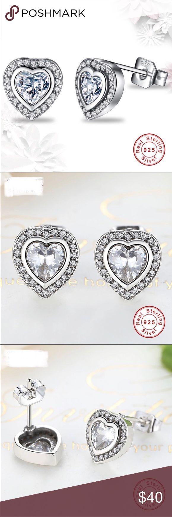 🎉just In🎉 100% 925 Sterling Silver Stud Earrings 100% 925 Sterling Silver dazzling crystal sweet heart Stud Earrings. Size: 10mm. Imported. Jewelry Earrings