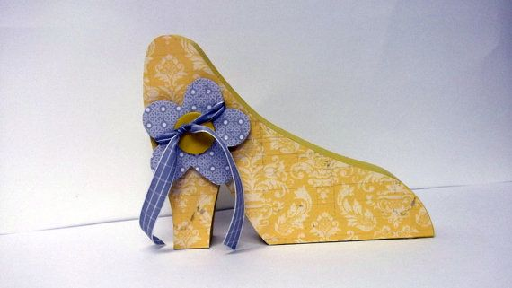 Sale Yellow high heel shoe gray yellow shabby by posiesandpoppies, $15.95